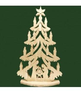Grand sapin lumineux LED en bois avec crèche de Noël
