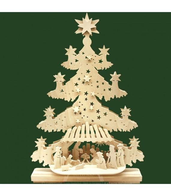 Sapin de Noël LED lumineux, en bois avec crèche de Noël et personnages
