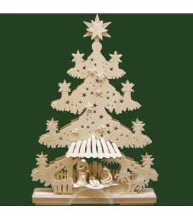 Sapin de Noël lumineux LED, en bois avec crèche de Noël et personnages cicelés