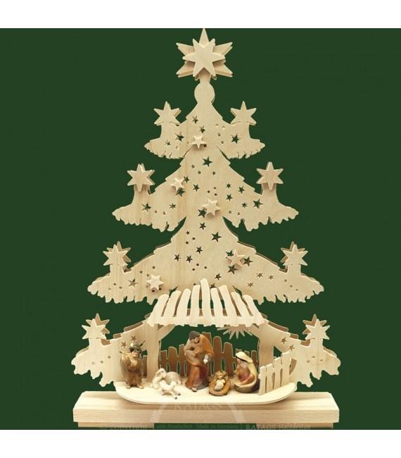 Sapin de Noël lumineux LED avec crèche de Noël et personnages couleurs ciselés
