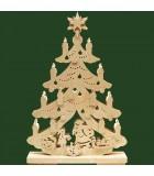 Père Noël et rennes dans sapin de Noël LED en bois