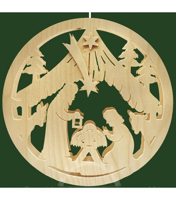Crèche de Noël en bois lumineuse