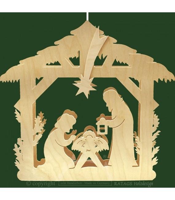 Crèche en bois électrique avec nativité