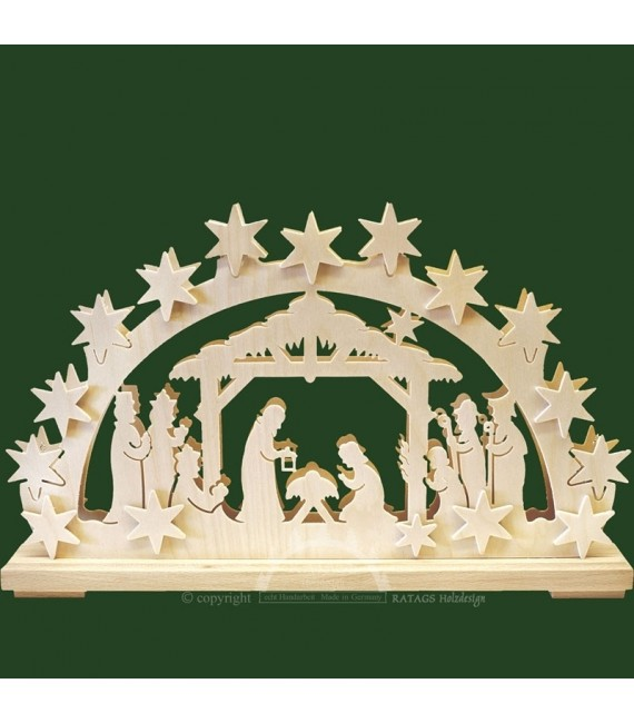 Arche crèche de Noël électrique en bois