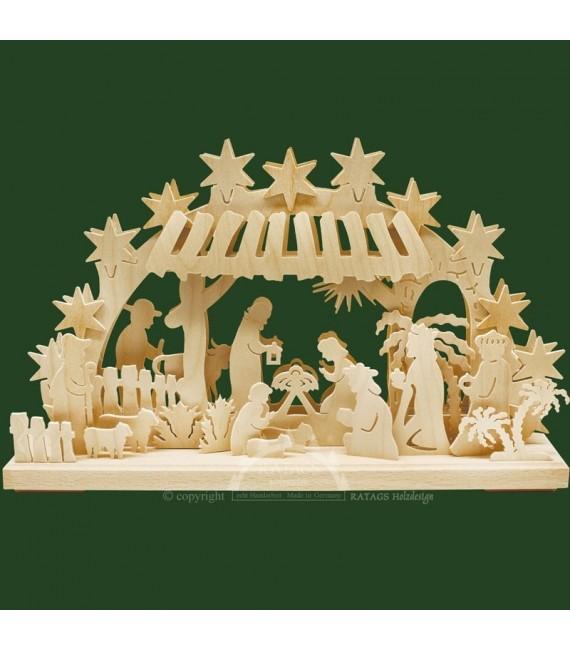 Bougeoir électrique crèche de Noel en bois
