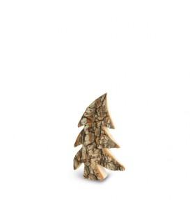 Petit sapin en bois, forme penchée, 7 cm