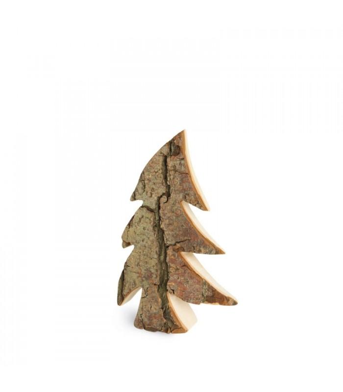 Sapin de no l en bois 12 cm d co avec corce de bois for Sapin deco en bois