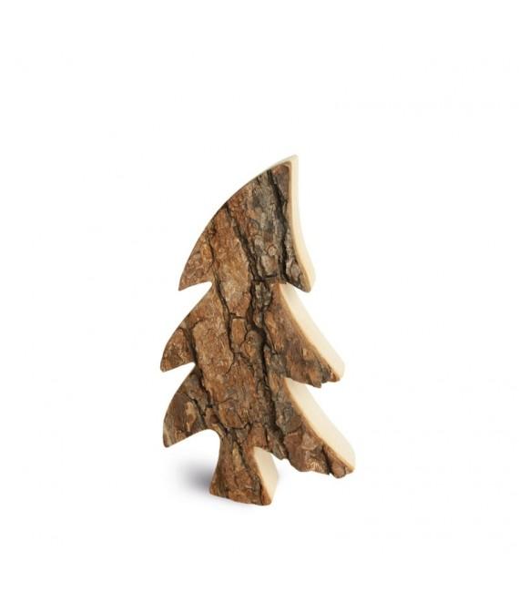 Sapin en bois, forme penchée, 18 cm