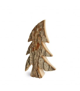 Sapin en bois, forme penchée, 21 cm