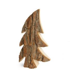 Grand sapin en bois, forme penchée, 40 cm