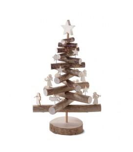 Sapin de Noël en bois 29 cm avec étoiles et anges