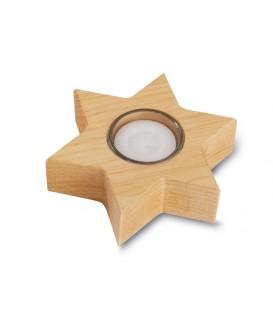 Bougeoir en bois, étoile