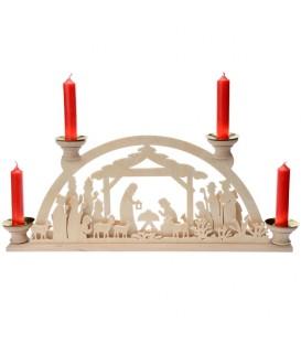 Bougeoir de Noël en bois, avec 4 bougies, 32 cm