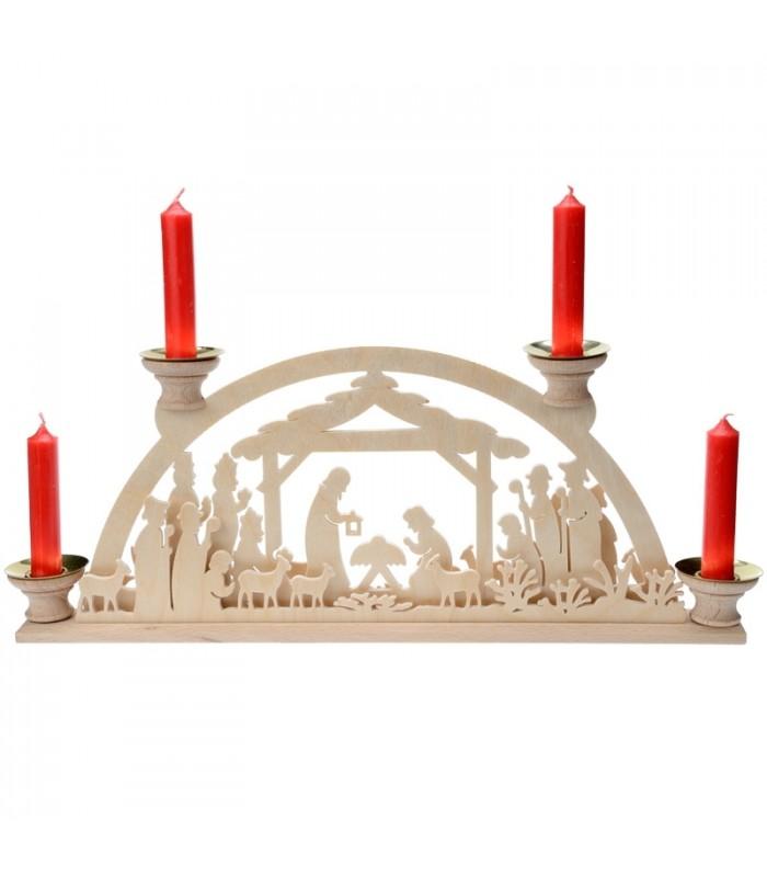 bougeoir de no l avec 4 bougies motif cr che de no l. Black Bedroom Furniture Sets. Home Design Ideas