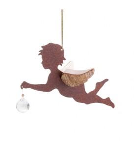 Ange à suspendre en métal et bois avec cristal Swarovski, n°1
