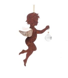Ange à suspendre en métal et bois avec cristal Swarovski, n°2