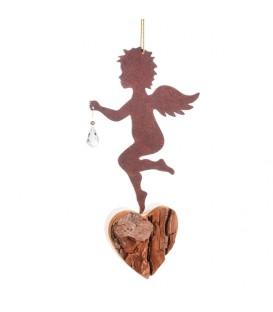 Ange en métal et coeur en bois avec cristal Swarovski, modèle n°1