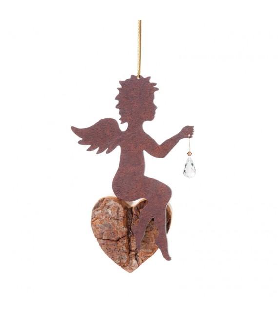 Ange en métal et coeur en bois avec cristal Swarovski, n°2