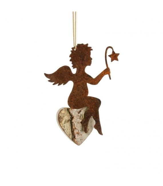 Petit ange en métal à suspendre et coeur en bois avec étoile