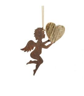 Petit ange en métal à suspendre et coeur en bois