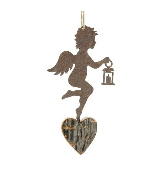 Petit ange en métal à suspendre et lanterne dans la main