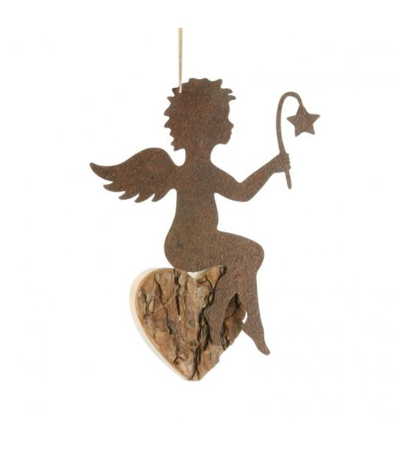 Ange métal et coeur en bois grand modèle à suspendre avec étoile