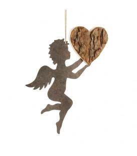 Ange métal et coeur en bois grand modèle 16,5 cm