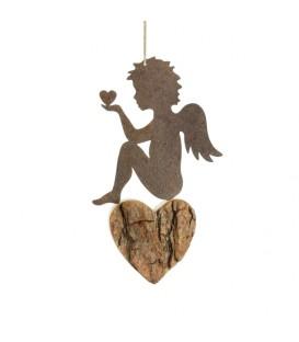Ange métal et coeur en bois grand modèle à suspendre, assis