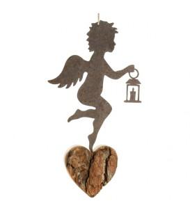 Ange métal et coeur en bois grand modèle à suspendre et lanterne