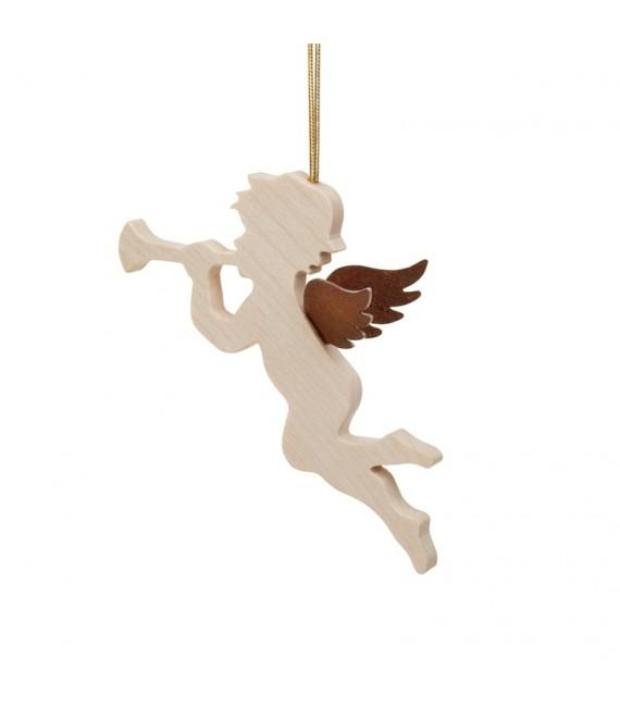 Ange pour sapin en bois d'érable avec trompette