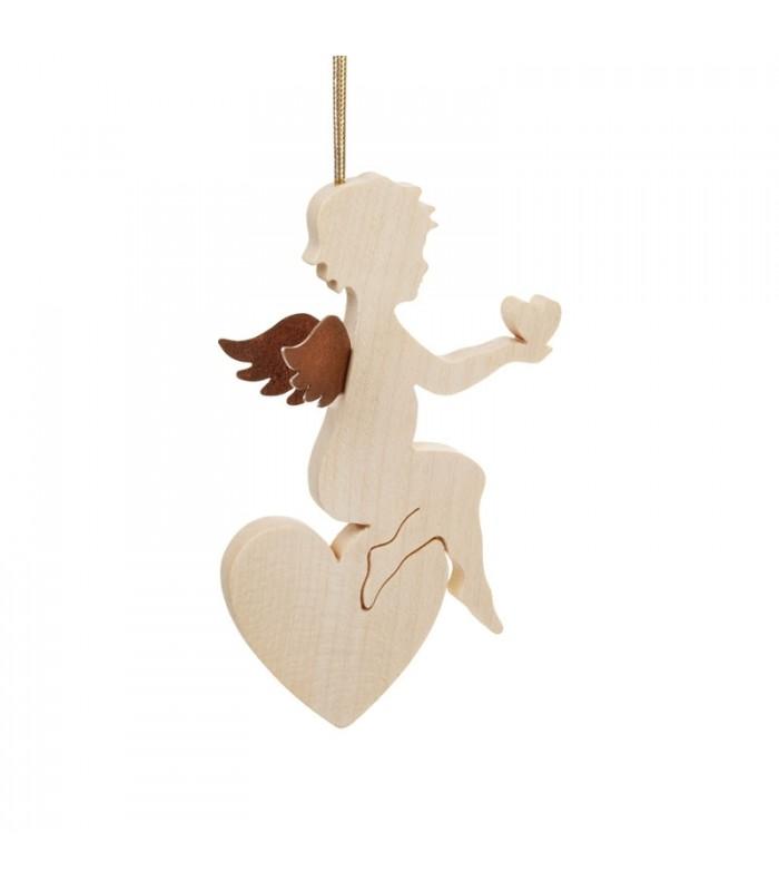 Ange de no l pour sapin en bois d 39 rable assis sur un coeur - Ange pour pointe de sapin ...