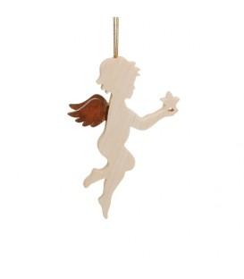 Ange pour sapin en bois d'érable ange avec une étoile dans la main