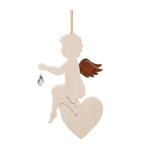 Ange en bois d'érable avec un cristal Swarovski assis sur un coeur