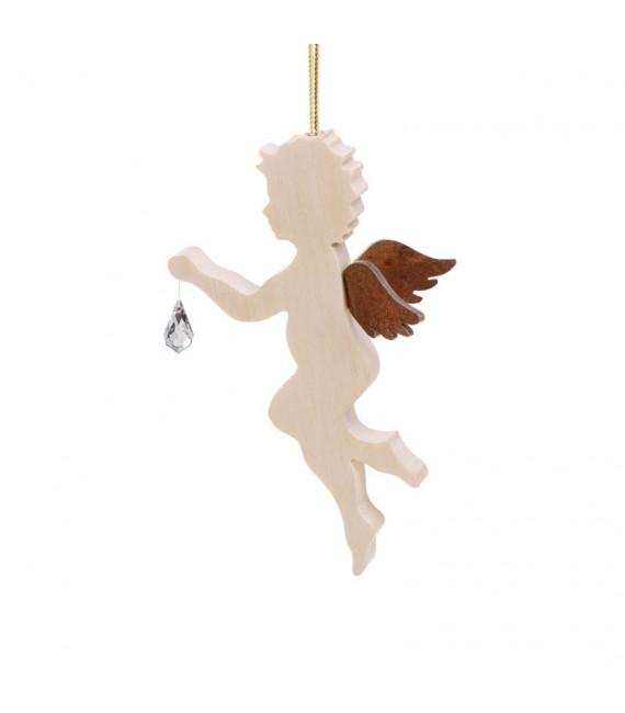 Ange en bois d'érable avec un cristal Swarovski, debout