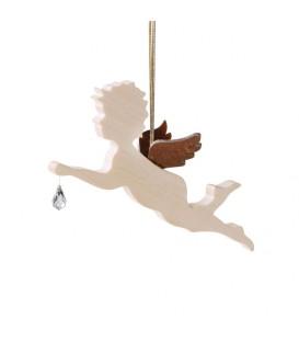 Ange en bois d'érable avec un cristal Swarovski, allongé