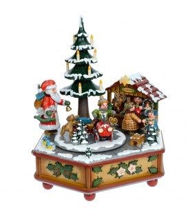 Boite à musique Noël, veillée autour du sapin