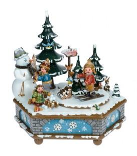 Boite à musique Noël, jeux d'enfants dans la neige