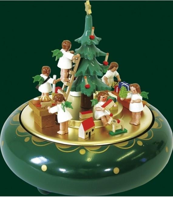 Boite à musique allemande O Tannebaum, anges le soir de Noël