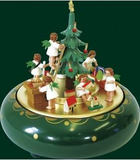 Boite à musique Noël, O Tannebaum, anges autour du sapin
