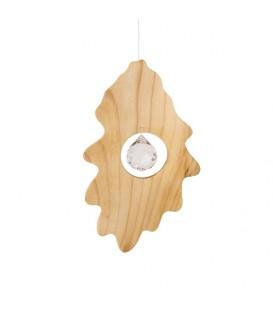 Feuille de chêne en bois avec cristal Swarovski à suspendre, 14 cm