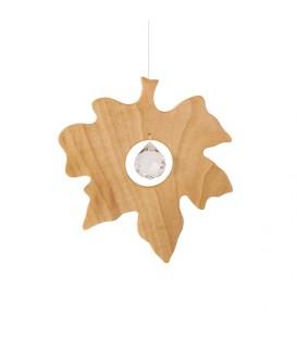 Feuille d'érable en bois à suspendre avec cristal Swarovski, 11,5 cm