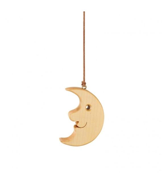 Lune en bois de chêne à suspendre 8,5 cm