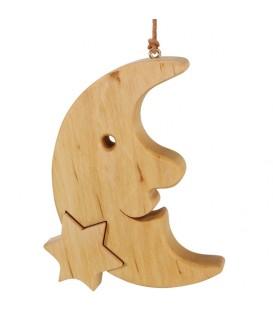 Lune en bois de chêne à suspendre avec une étoile 12,5 cm