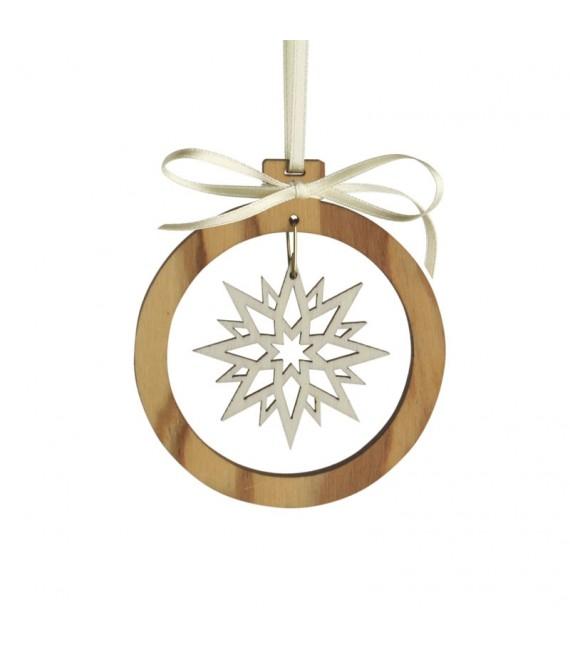 Pendentif en bois d'olivier motif cristal de neige 1