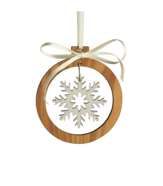 Pendentif en bois d'olivier motif cristal de neige 2
