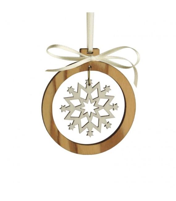 Pendentif en bois d'olivier motif cristal de neige 3