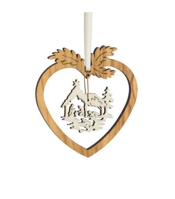 Coeur pendentif en bois d'olivier motif crèche