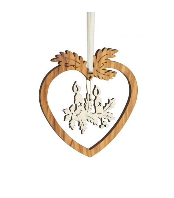 Coeur pendentif en bois d'olivier motif bougies