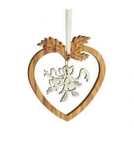 Coeur pendentif en bois d'olivier motif cloches