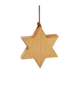Etoile en bois d'aulne à suspendre 7,5 cm